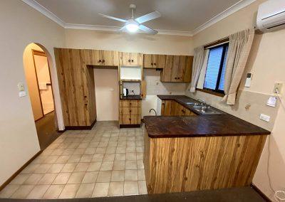 brown timber laminate kitchen